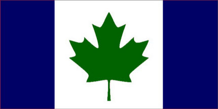 Canada flag blue with green, the way it oughtta be