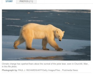 "The ""man-made global warming""-advocating photo of ubiquitous BS accompanies their ""news report."""