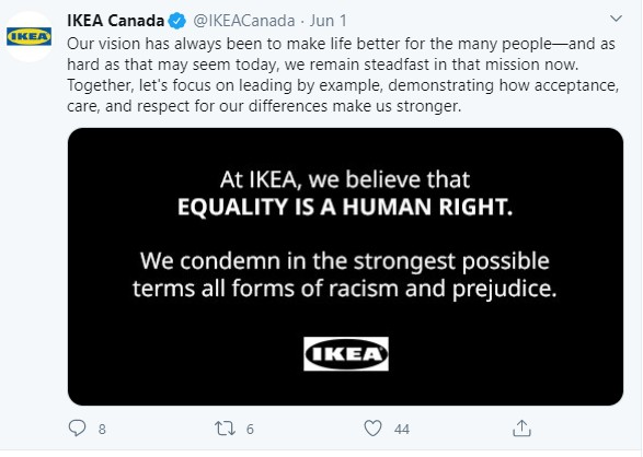 Ikea tweets with link